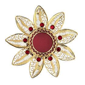 Reliquiario 5 cm a forma di fiore argento dorato pietre rosse s1