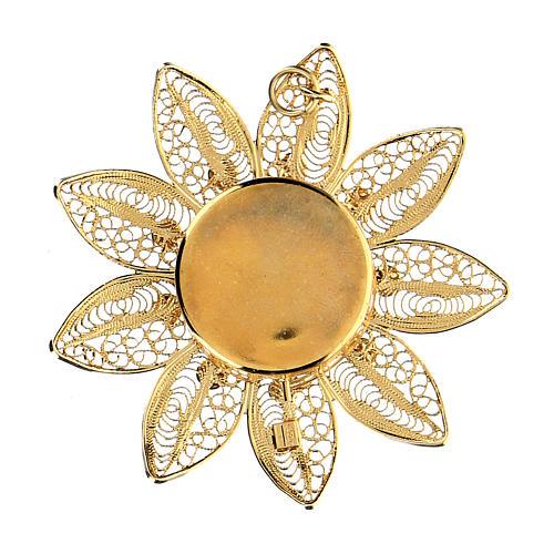 Reliquiario 5 cm a forma di fiore argento dorato pietre rosse 2