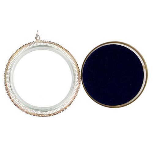 Relicário filigrana redondo 6 cm prata 925 3