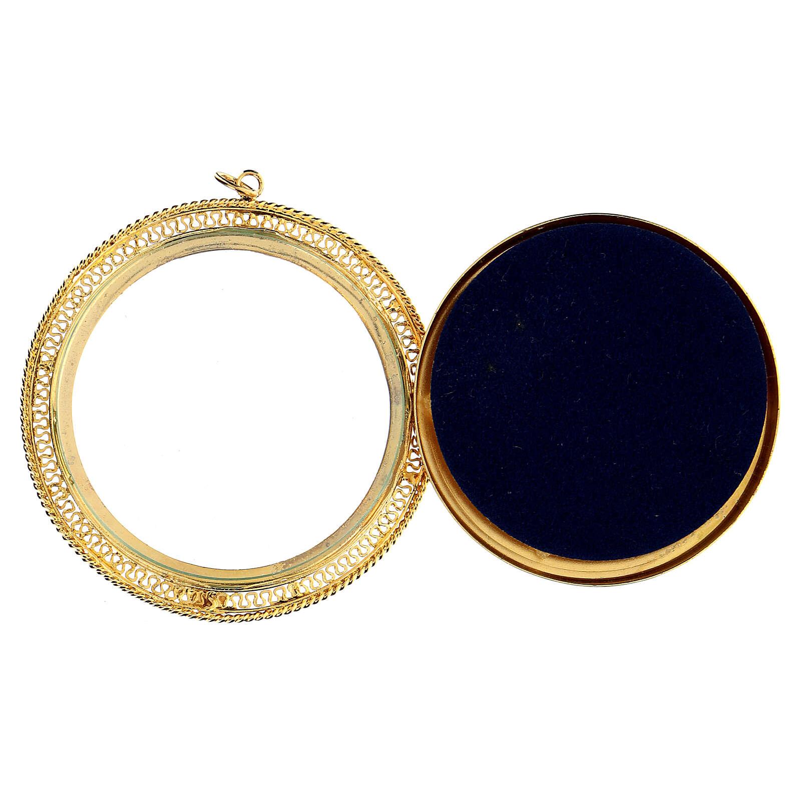 Relicário prata 925 dourada filigrana redonda 6 cm 4