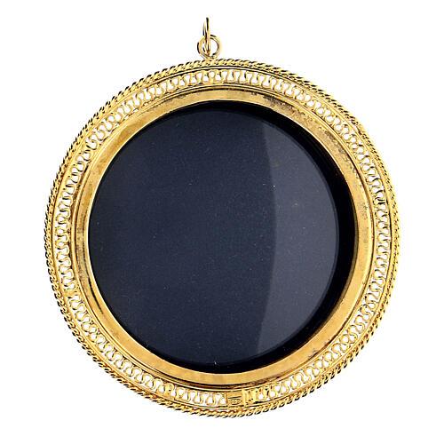 Relicário prata 925 dourada filigrana redonda 6 cm 1