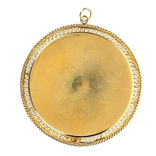 Relicário prata 925 dourada filigrana redonda 6 cm 2