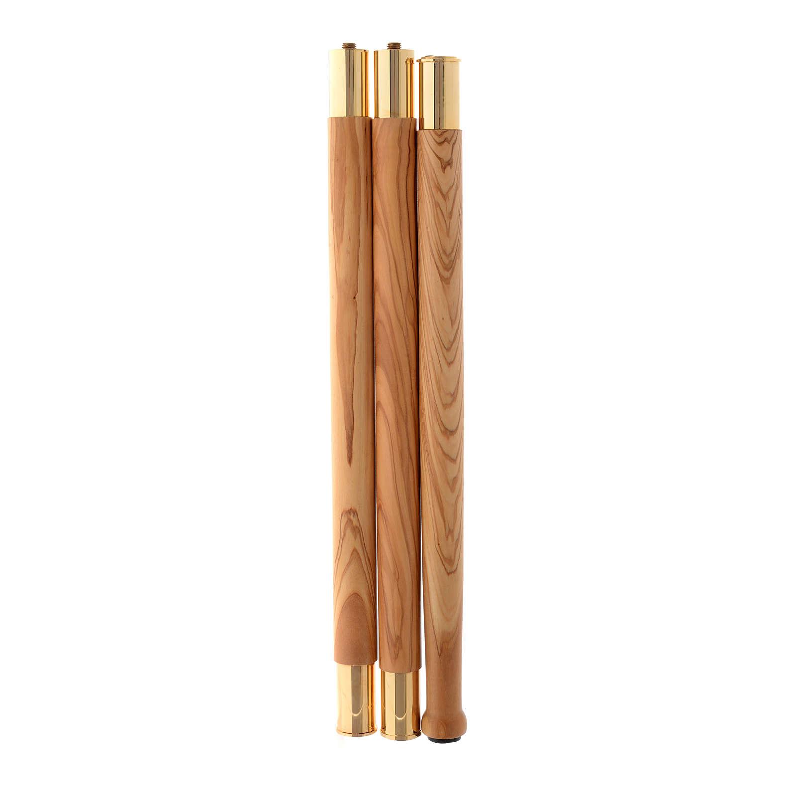 Pastorale legno olivo stagionato di Assisi IHS agganci in metallo 3
