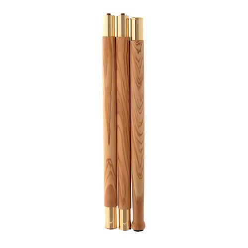 Pastorale legno olivo stagionato di Assisi IHS agganci in metallo 4