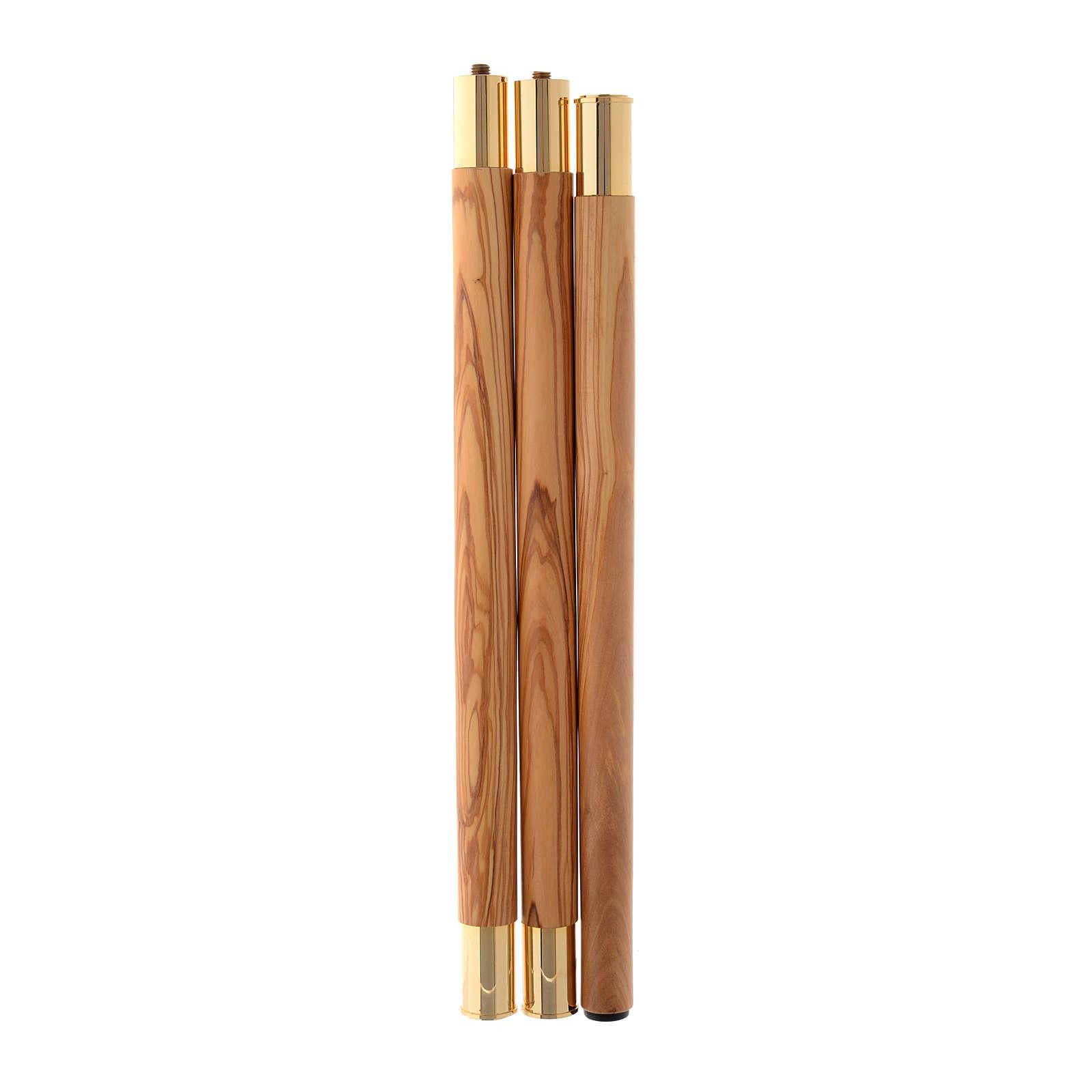 Bastone pastorale legno ulivo stagionato Assisi agganci metallo 3