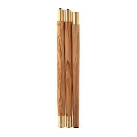 Bastone pastorale legno ulivo stagionato Assisi agganci metallo s4