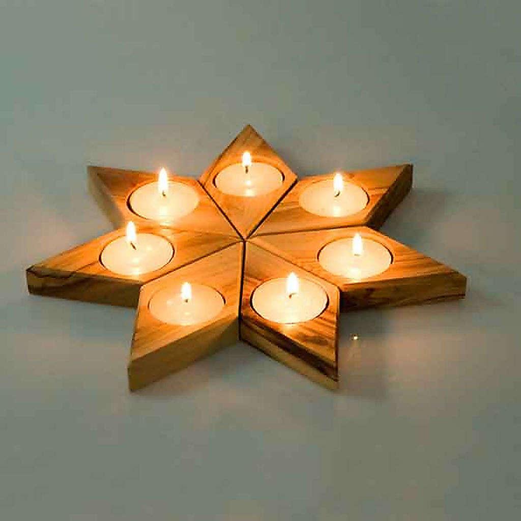 Portavelas madera olivo estrella 3