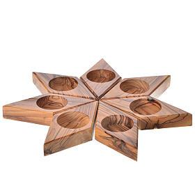 Portavelas madera olivo estrella s1