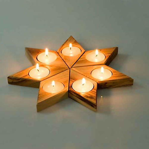 Portacandela legno olivo stella 2
