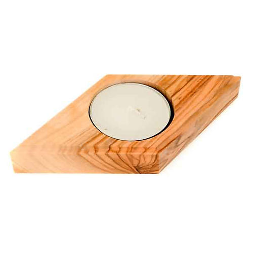 Portacandela legno olivo stella 4