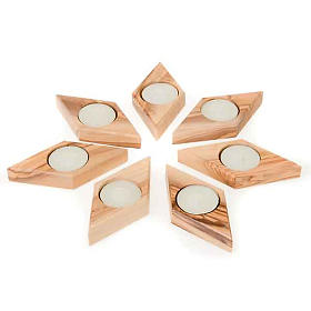 Olive wood star candle-holder s3
