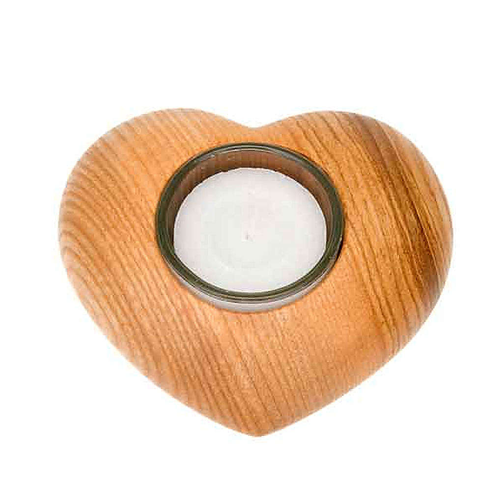 Portacandela legno cuore 3