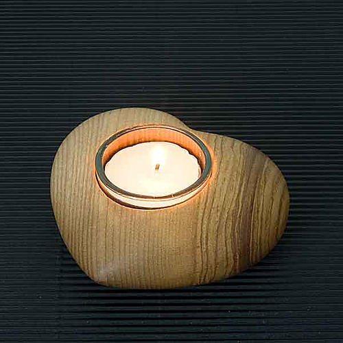 Wooden heart candle-holder 2