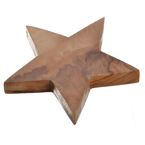 Olive wood candle-holder star 2