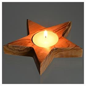 Chandelier en bois d'olivier , étoile 5 pointes s3