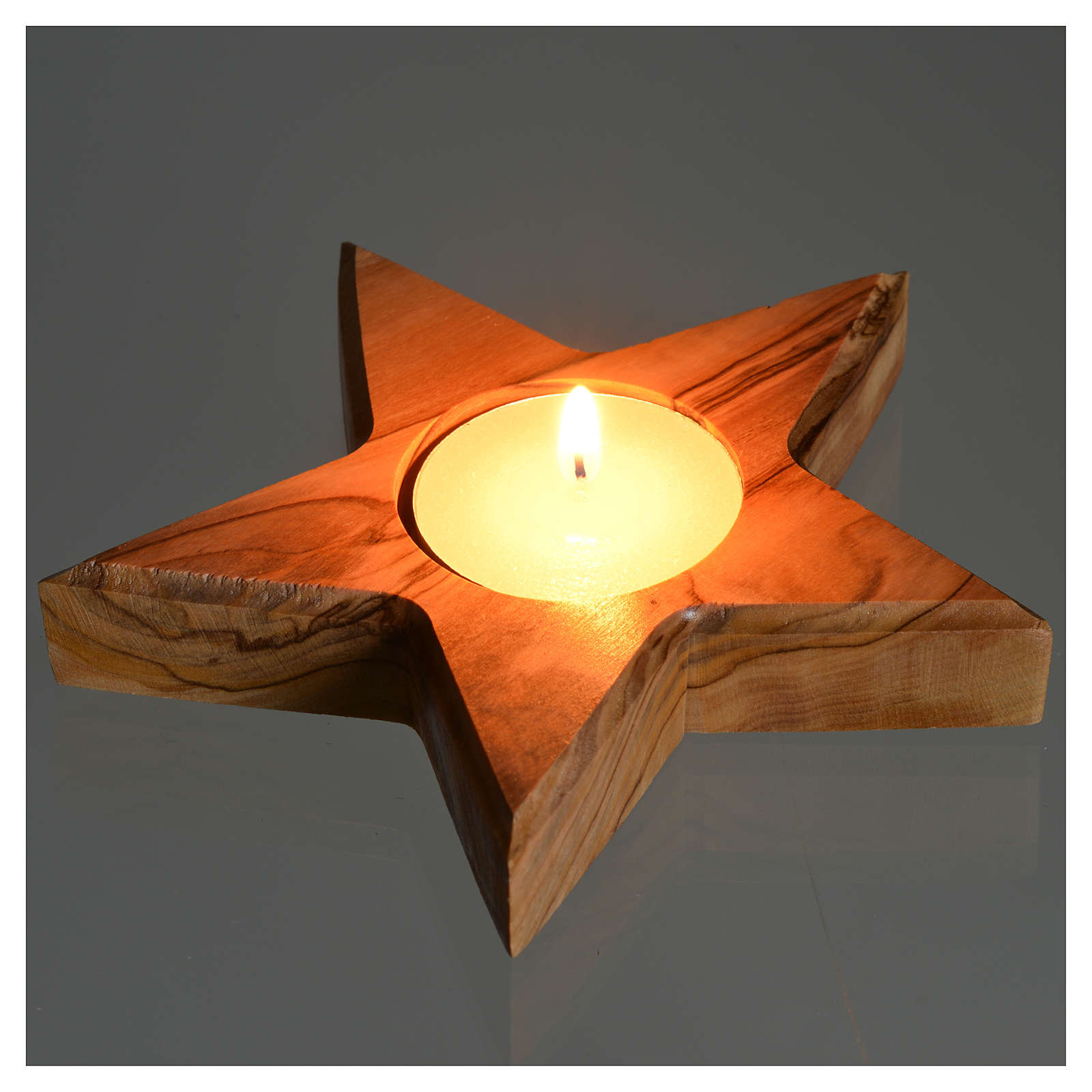 Olive wood candle-holder star 3