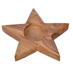 Olive wood candle-holder star s1