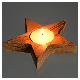 Olive wood candle-holder star s3