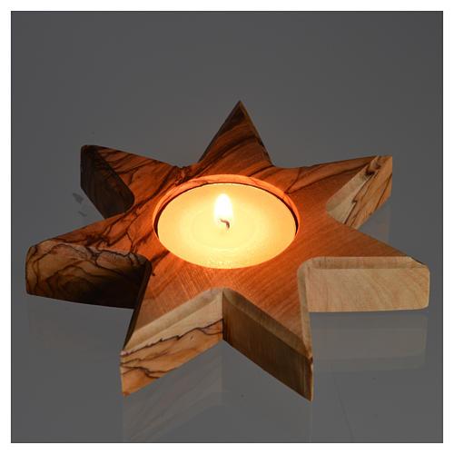Kerzenhalter Oliven-Holz Sterne 7 Spitze 4