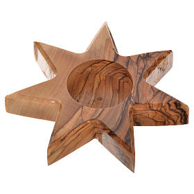 Olive wood candle-holder 7 point star s2