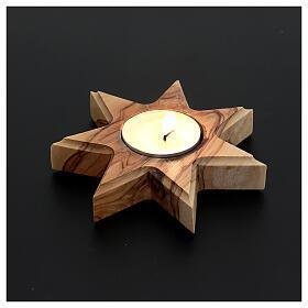 Chandelier en bois d'olivier , étoile 7 pointes s2
