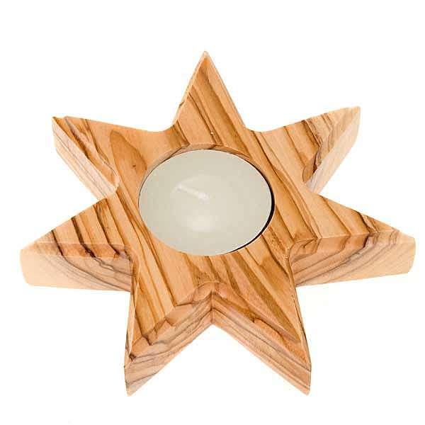 Świecznik drewno oliwne gwiazda 7 ramion 3