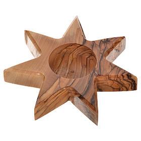 Świecznik drewno oliwne gwiazda 7 ramion s2