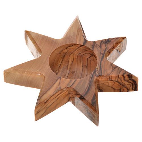 Świecznik drewno oliwne gwiazda 7 ramion 2