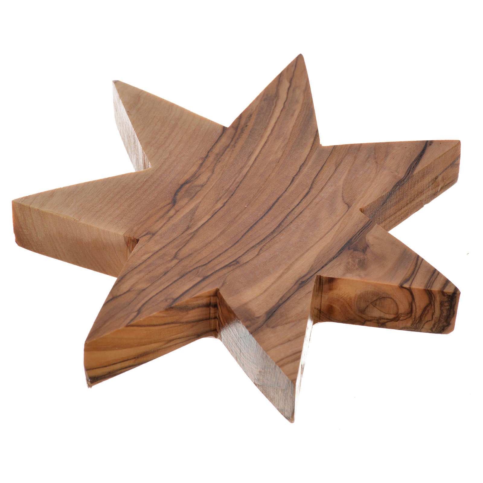 Olive wood candle-holder 7 point star 3