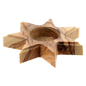 Olive wood candle-holder 7 point star s3