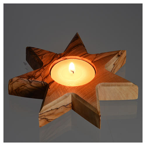 Olive wood candle-holder 7 point star 4