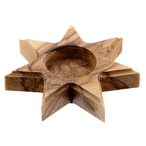 Olive wood candle-holder 7 point star 1
