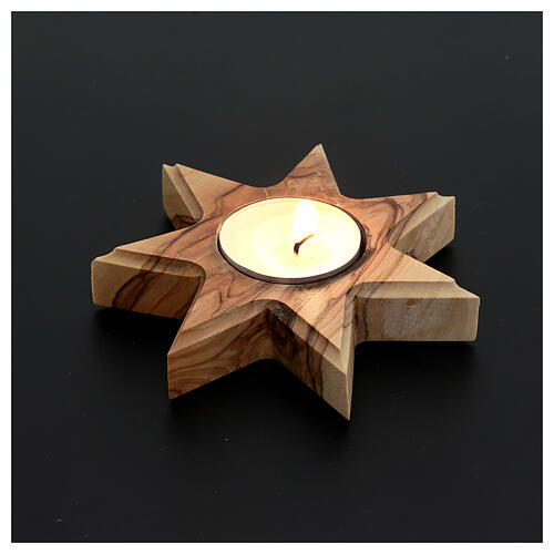 Olive wood candle-holder 7 point star 2