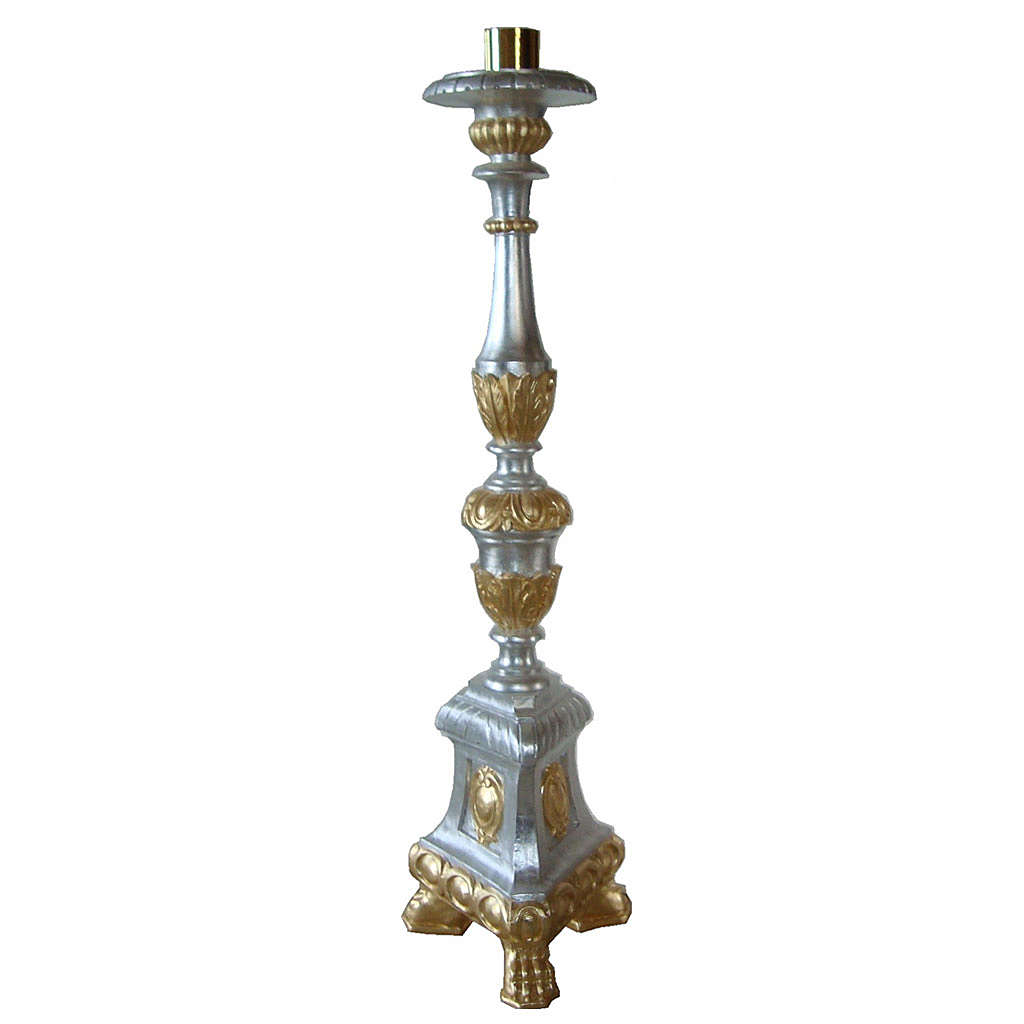 Candlestick in wood, gold and silver leaf 4