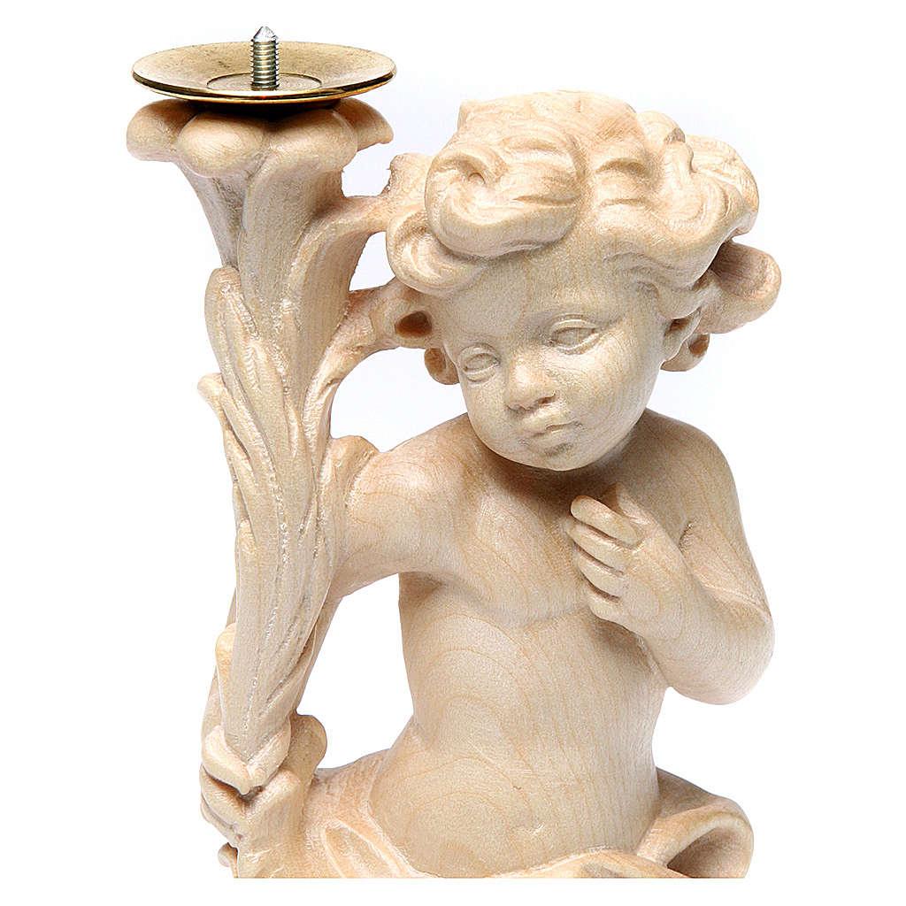 Paio angeli portacandela legno Valgardena naturale cerato 3
