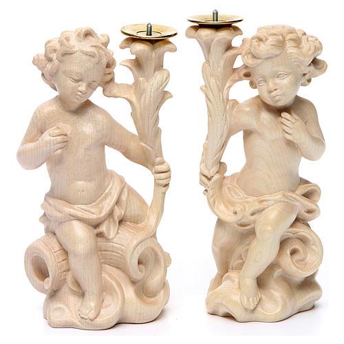Paio angeli portacandela legno Valgardena naturale cerato 1