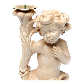 Candle holder with angels, natural wax Valgardena wood s2