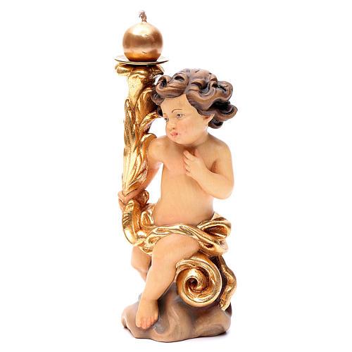 Paio angeli portacandela legno Valgardena colorato 2