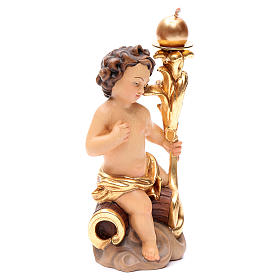 Candle holder with angels in painted Valgardena wood s3