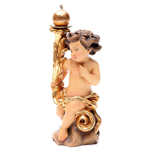 Candle holder with angels in painted Valgardena wood 2