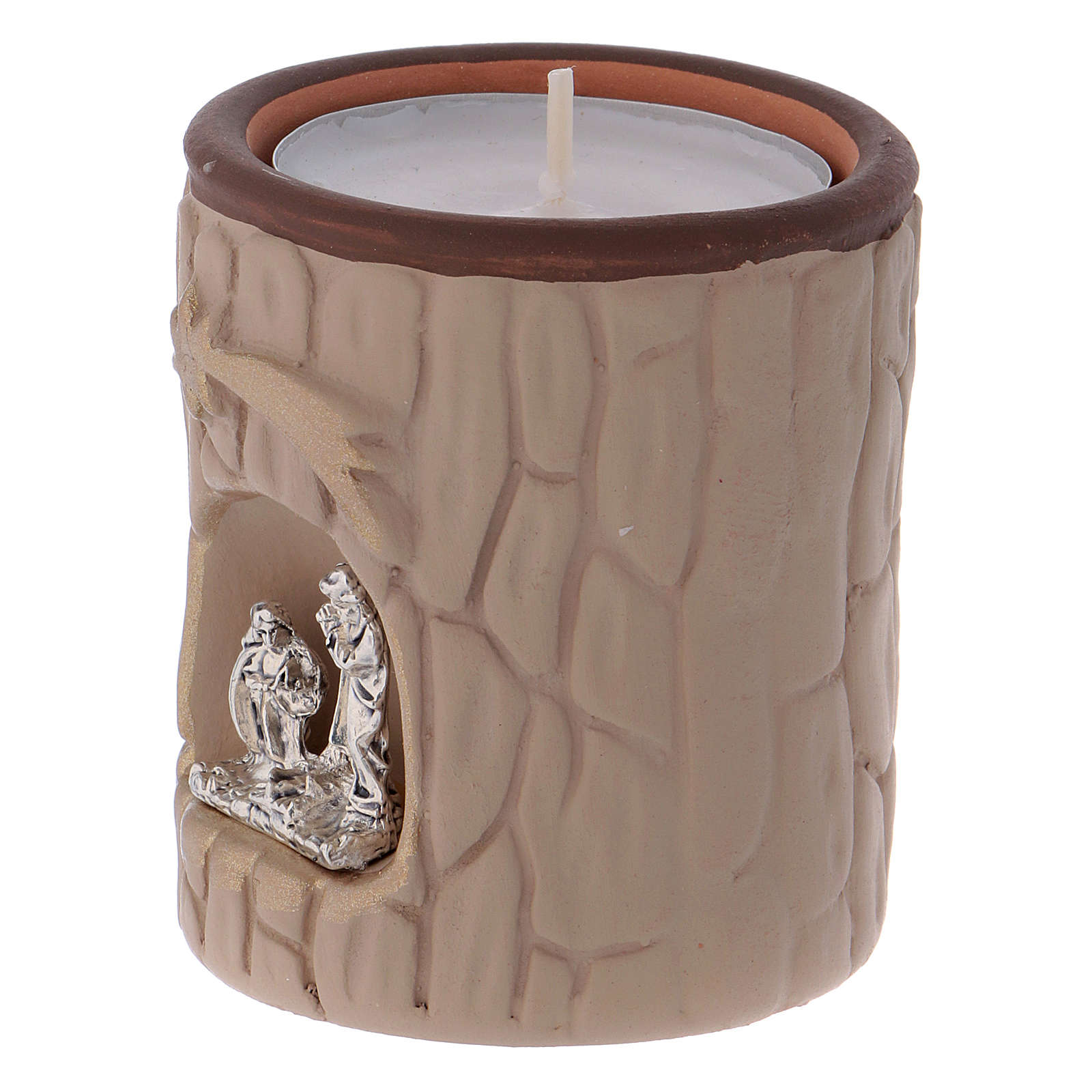 Candle holder in terracotta from Deruta with Nativity, beige 3