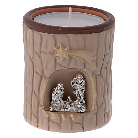 Candle holder in terracotta from Deruta with Nativity, beige s1