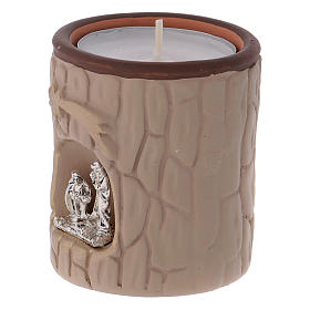 Candle holder in terracotta from Deruta with Nativity, beige s2