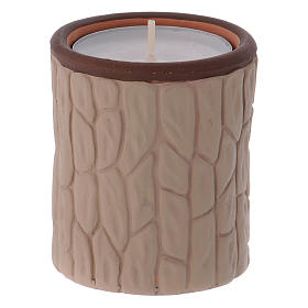 Candle holder in terracotta from Deruta with Nativity, beige s3