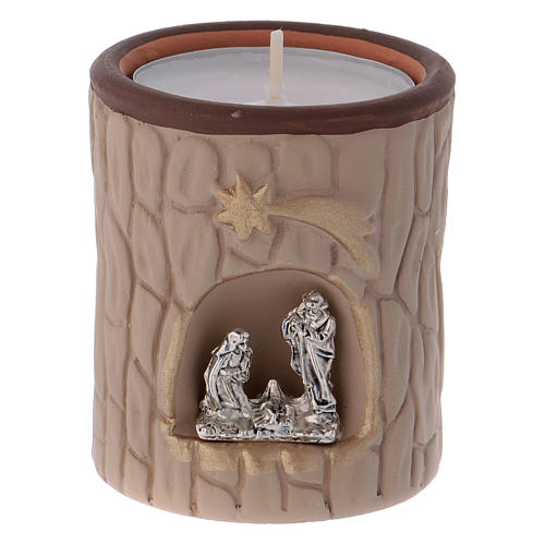 Candle holder in terracotta from Deruta with Nativity, beige 1