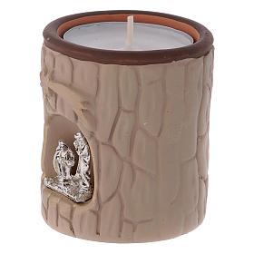 Portalumino cilindrico color beige con Natività terracotta Deruta s2
