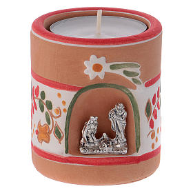 Candle holder in terracotta from Deruta with Nativity, Country painting style s1