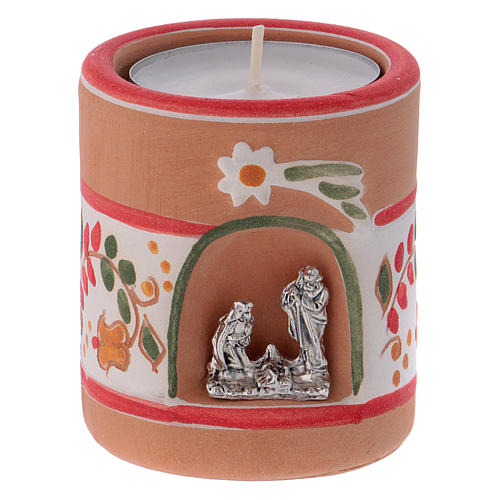 Candle holder in terracotta from Deruta with Nativity, Country painting style 1
