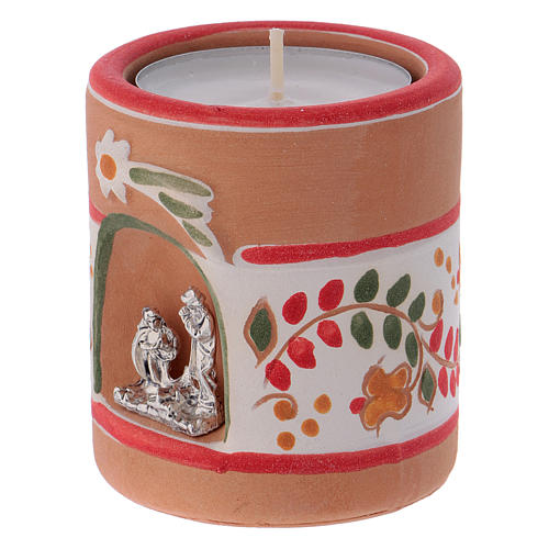 Candle holder in terracotta from Deruta with Nativity, Country painting style 2