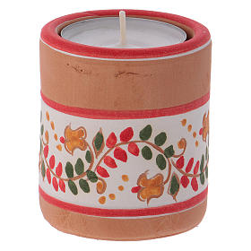 Portavela cilíndrico estilo Country rojo con Natividad de terracota Deruta s3